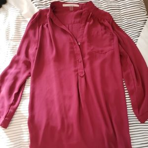 Wine colored tunic style blouse